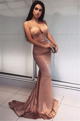 Sexy V-Neck Mermaid Prom Dresses | Sweep Train Sleeveless Cheap Evening Gowns_1