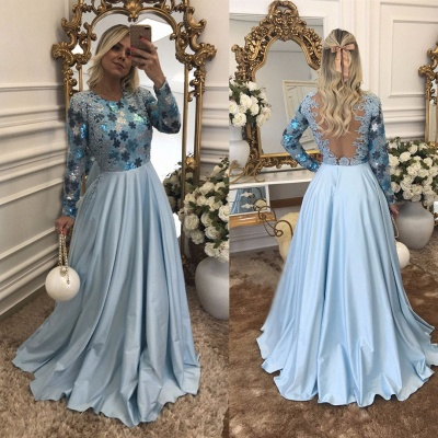 Lace Scoop Beaded A-Line Long-Sleeves Blue Evening Dress_3