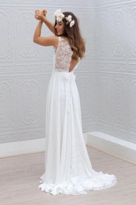 Bowknot Lace Sleeveless V-Neck Chiffon Glamorous White Wedding Dress_3