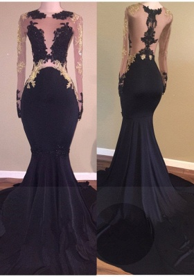 2019 Black Mermaid Prom Dresses Long Sleeves Sheer Gold Lace Appliques Sheer Sexy Evening Gowns_2