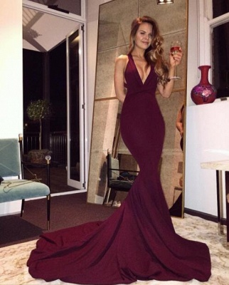 2019 Burgundy Mermaid Prom Dresses Halter V-Neck Maroon Long Evening Gowns_4