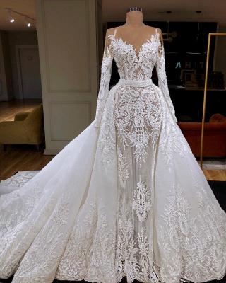 Luxury Long Sleeve Jewel Beaded Lace Sheath Wedding Dresses With Detachable Skirt_2