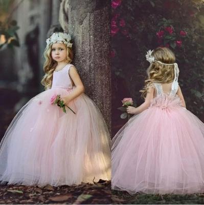 Flower Ball-Gown Pink Long Cute Girl Dresses_3
