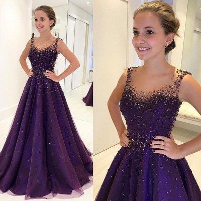 Elegant A-Line Beading Prom Dresses | Scoop Sleeveless Puffy Evening Dresses_3