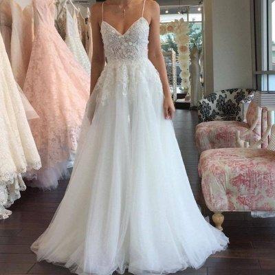A-line Lace Romantic Spaghetti-Strap Sleeveless Tulle Wedding Dress_3
