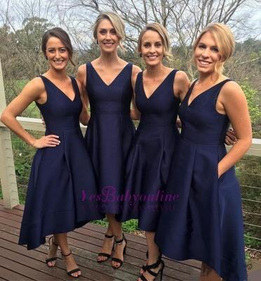 V-neck Dark-Navy Sleeveless A-line High-low Birdesmaid Dresses_1