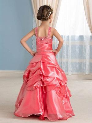 Cute Ball Gown Organza Straps Appliques Floor-Length Flower Girl Dress_3