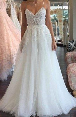 A-line Lace Romantic Spaghetti-Strap Sleeveless Tulle Wedding Dress_2