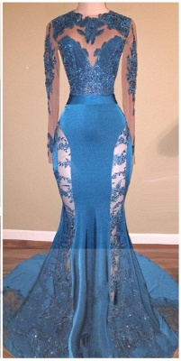Blue Long Mermaid Lace Prom Dresses | Long Sleeves Hollow Back Evening Gowns_1