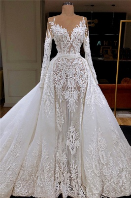 Luxury Long Sleeve Jewel Beaded Lace Sheath Wedding Dresses With Detachable Skirt
