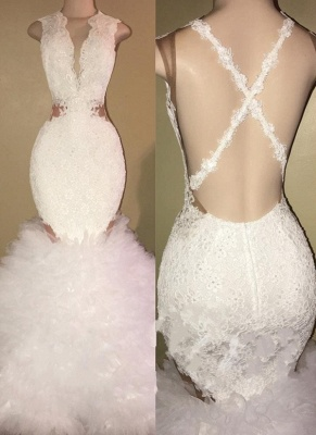 Lace Ruffles Mermaid Prom Dresses | Sleeveless V-neck Evening Gowns_1