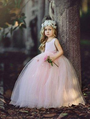 Flower Ball-Gown Pink Long Cute Girl Dresses_2