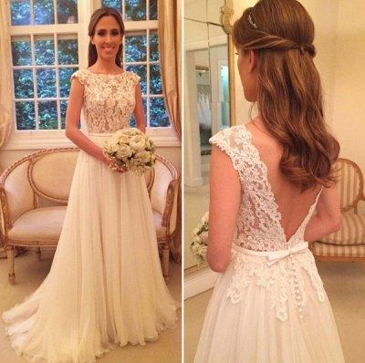Chiffon Applique A-Line Open-Back Cap Sleeves Glamorous Wedding Dresses_3