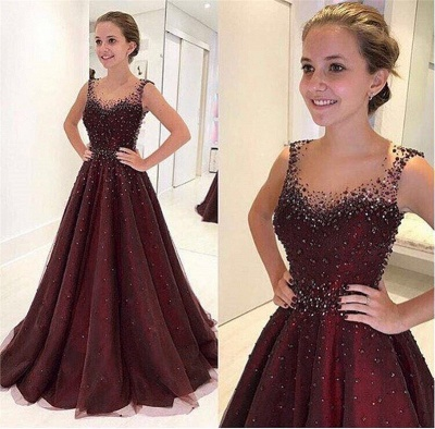 Elegant A-Line Beading Prom Dresses | Scoop Sleeveless Puffy Evening Dresses_4