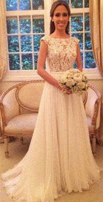 Chiffon Applique A-Line Open-Back Cap Sleeves Glamorous Wedding Dresses_4