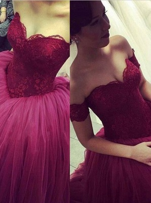 Burgundy Ball Gown Prom Dresses Off the Shoulder Short Sleeves Lace Evening Gowns_2
