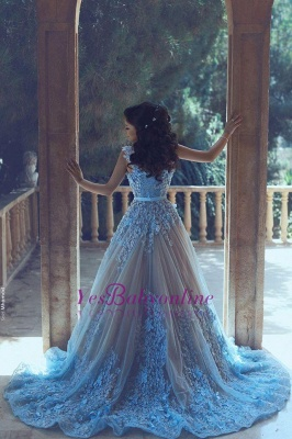 Luxury Blue Sleeveless 3D-Floral Appliques A-line Prom Dresses_1