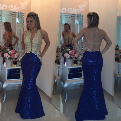 Mermaid Gold-Appliques Buttons Sequins Sleeveless Prom Dress_3