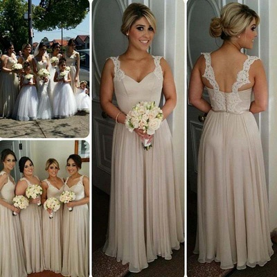 Lace A-line Straps Floor-length Buttons Bridesmaid Dresses_4