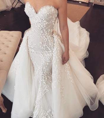 Sexy Sweetheart Lace Detachable skirt Mermaid Wedding Dresses_3