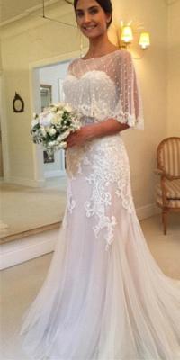 Sweep-Train Tulle Mermaid Sweetheart Sexy Applique Wedding Dresses_2