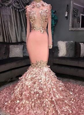 Chic Mermaid Sequins Round-Neck Flower Long-Sleeves Prom Dresses_1