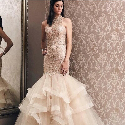 Elegant Mermaid Light Champagne  High Neck Beading Prom Dress | Evening Dress_3