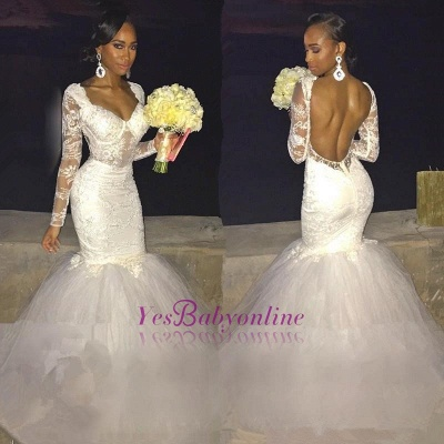 Backless Long-Sleeves Lace Sexy Mermaid Wedding Dress_1