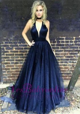 Sleeveless Floor-length V-neck A-line Chic Black Prom Dress_1