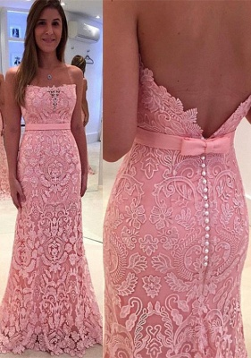 Lace Appliques Sexy Mermaid Pearls Pink Glamorous Strapless Zipper Prom Dress_2