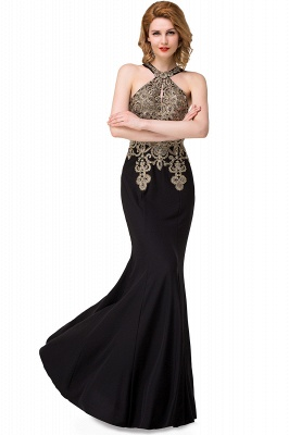 Sleeveless Halter Appliques Black Crystal Mermaid Sexy Prom Dress_6