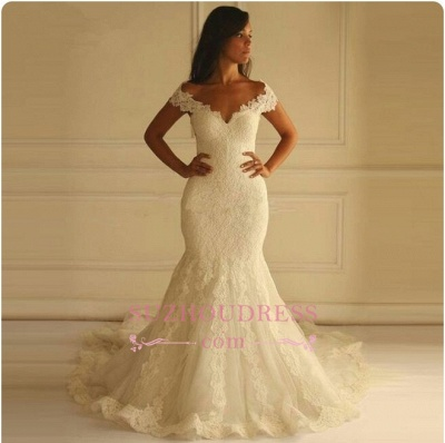 Glamorous Off-The-Shoulder Applique  Sexy Mermaid Lace Wedding Dresses_1