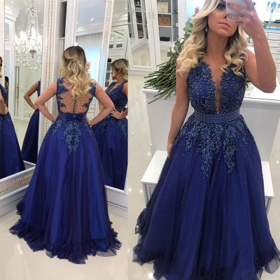 V-Neck Pearls Glamorous Lace A-Line Prom Dresses_3