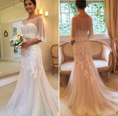Sweep-Train Tulle Mermaid Sweetheart Sexy Applique Wedding Dresses_3