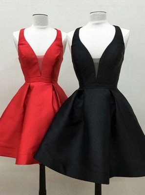 Sexy V-Neck Red Homecoming Dresses | A-Line Backless short Cocktail Dresses_3