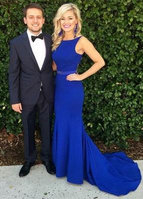 Glamorous Sleeveless Royal Blue Beadings Mermaid Long Evening Dress_2