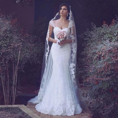 Sweetheart Tulle Glamorous Appliques Straps Mermaid Wedding Dresses_3