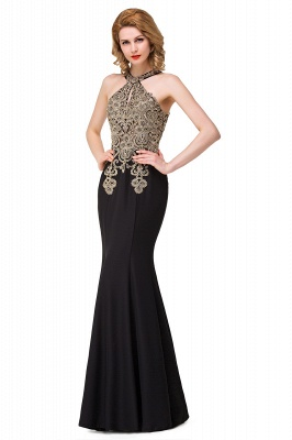 Sleeveless Halter Appliques Black Crystal Mermaid Sexy Prom Dress_4