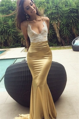 Sexy Mermaid Prom Dresses Halter Neck Shiny Gold Evening Gowns_2