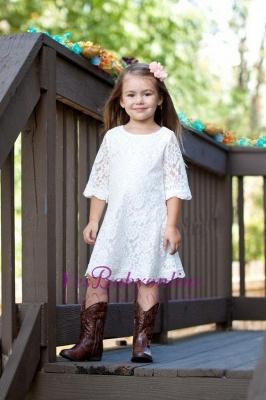 White Lace Knee-Length Cute Half-Sleeve A-line Flower-Girl Dress_1