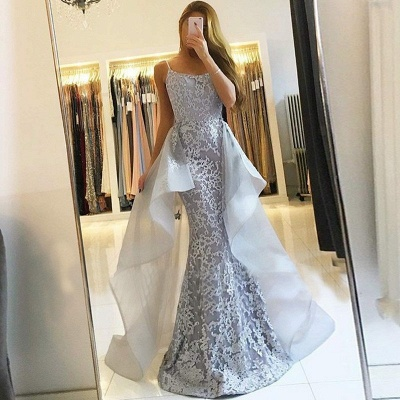 Elegant Straps Evening Dresses with Overskirt | Mermaid Sleeveless Prom Dresses_3