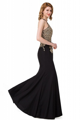 Sleeveless Halter Appliques Black Crystal Mermaid Sexy Prom Dress_5