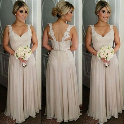 Lace A-line Straps Floor-length Buttons Bridesmaid Dresses_3
