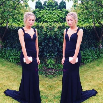 Long Two-straps Elegant Sweep-Train Mermaid Prom Dress_1