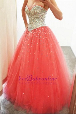 Crystals Cheap Puffy Sparkly 2019 Sweetheart  Quinceanera Dresses_1