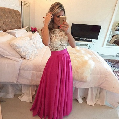 Fuchsia A-line Prom Dress Pearls  Floor Length A-line Evening Gowns_3