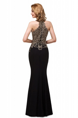 Sleeveless Halter Appliques Black Crystal Mermaid Sexy Prom Dress_3