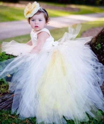 Pearls Flower Tull Sleeveless Ball-Gown Scoop Girl Dresses_3