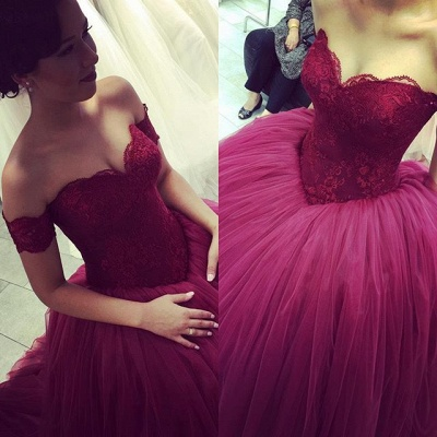 Burgundy Ball Gown Prom Dresses Off the Shoulder Short Sleeves Lace Evening Gowns_3