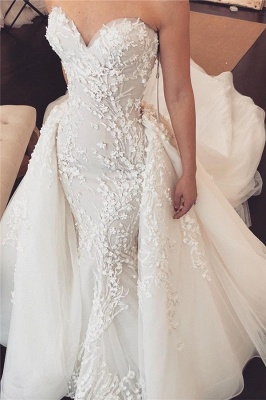 Sexy Sweetheart Lace Detachable skirt Mermaid Wedding Dresses_1